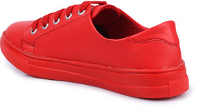 Do Bhai Women's Red Lace-up Sneakers