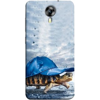 FUSON Designer Back Case Cover for Micromax CanvasNitro4G E371 (Cute Tortoise Turtle Wearing A Party Hat Water Drops)