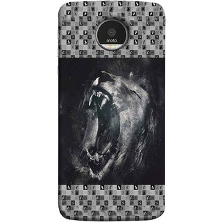 FUSON Designer Back Case Cover for Motorola Moto Z :: Motorola Moto Z Droid in USA (Grey Canvas Wallpaper Grey Background Leopards)