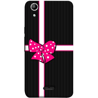 FUSON Designer Back Case Cover for Micromax Canvas Selfie 2 Q340 (Gift Box Wrapped In Black And White Striped Paper)