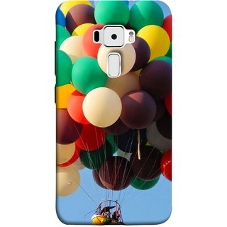 FUSON Designer Back Case Cover For Asus Zenfone 3 ZE520KL (5.2 Inches) (Up Up Sky Blue Colourful Balloons Boat Man )