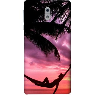 FUSON Designer Back Case Cover For Nokia 3 (Sunset Beach Hammock Chillout Wallpapers Palmtrees)