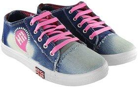 Bella Toes Womens Light Blue & Pink Sneakers