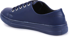 Do Bhai Women's Blue Lace-up Sneakers