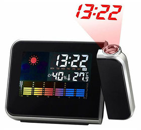Best Deals - LED Rotating Projection Color Screen Calendar Clock with Weather Forecast Alarm Function.