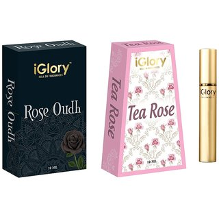 BEST HIS  HER COMBO ATTAR, DAY  NIGHT ROLL ON, ALCOHOL FREE - ROSE OUDH  TEA ROSE 20ML