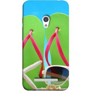 FUSON Designer Back Case Cover For Asus Zenfone 5 A501CG (Green Chappals Sand Starfish Sunny Day Sunshine)