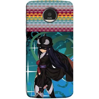 FUSON Designer Back Case Cover for Motorola Moto Z :: Motorola Moto Z Droid in USA (Blue Background Woman Standing Holding Warrior Fantasy)