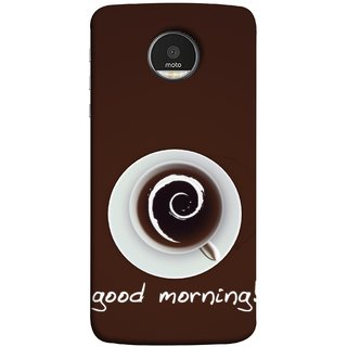 FUSON Designer Back Case Cover for Motorola Moto Z Force :: Motorola Moto Z Force Droid for USA (Good Morning Afternoon Evening Coffee Tea Cream )