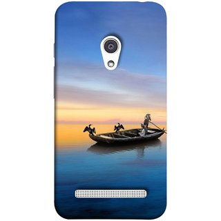 FUSON Designer Back Case Cover For Asus Zenfone 6 A600CG (Water Sea Sky Beautiful Boat Cruise Horizon )