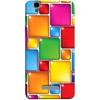 FUSON Designer Back Case Cover For YU Yureka Plus :: Yu Yureka Plus YU5510A (Glossy Mat Squares Small Honey Purple Red )
