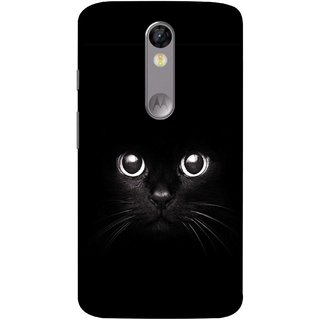 FUSON Designer Back Case Cover for Motorola Moto X Force :: Motorola Moto X Force Dual SIM (Black Kitty Kitten Closeup Of A Long Haired Black Cats )