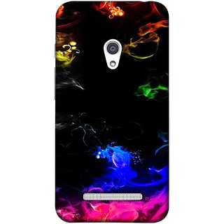 FUSON Designer Back Case Cover For Asus Zenfone Go ZC500TG (5 Inches) (Smoking Painting Sprials Blue Black Green Leaves )