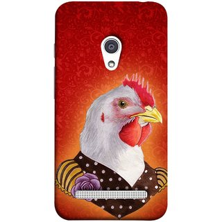 FUSON Designer Back Case Cover For Asus Zenfone 6 A600CG (Young Chicken Portrait Funny Acting Isolated Illustration)
