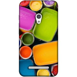 FUSON Designer Back Case Cover For Asus Zenfone Go ZC500TG (5 Inches) (Cans And Paint On Colour Background Bright Full Joy )