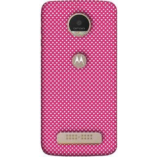 FUSON Designer Back Case Cover For Motorola Moto Z Play (Valentine Pink Metallic Hearts Cool Peace Sign Symbol)