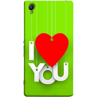FUSON Designer Back Case Cover For Sony Xperia Z2 (5.2 Inches) (Just Green Say Always I Love You Red Hearts Couples)