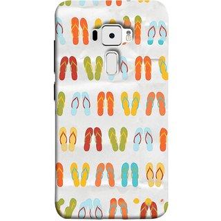 FUSON Designer Back Case Cover For Asus Zenfone 3 ZE520KL (5.2 Inches) (Chappals Juta Shoes Summer Seasons Pink Red Green)