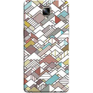 FUSON Designer Back Case Cover for OnePlus 3 :: OnePlus Three :: One Plus 3 (Watercolor Horizontal Vertical Vector Lines Colourful)