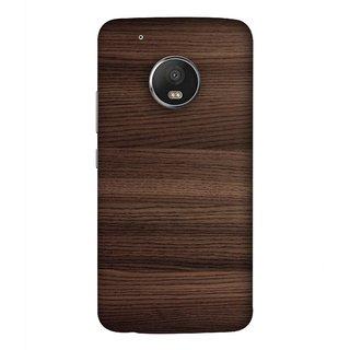 FUSON Designer Back Case Cover For Motorola Moto G5 Plus (Strips Brown Gray Sunmica Plywood Back Art Laminate)