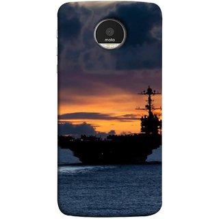 FUSON Designer Back Case Cover for Motorola Moto Z :: Motorola Moto Z Droid in USA (Sunrise Sunset With Silhouette Of Navy Ship Sailing Away)