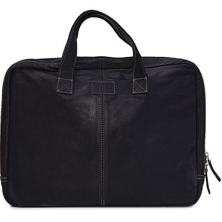 Faro Black 100 Genuine Leather Laptop Sleeve