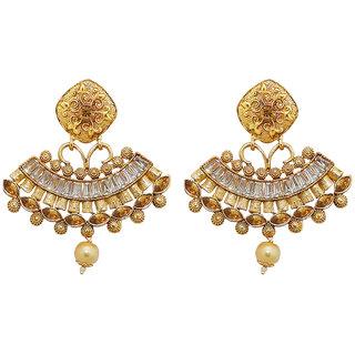 JewelMaze AD Stone Gold Plated Dangler Earrings-AAA4032