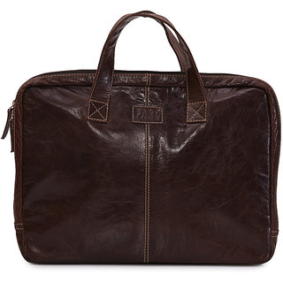 Faro Brown 100 Genuine Leather Laptop Sleeve