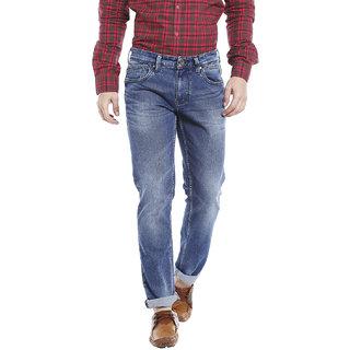 LAWMAN PG3 Men's Blue Solid 100% Cotton Slim Fit Jeans