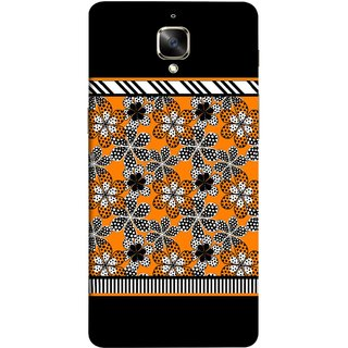 FUSON Designer Back Case Cover for OnePlus 3 :: OnePlus Three :: One Plus 3 (White Gray Yellow White Black Flowers Unstitched)