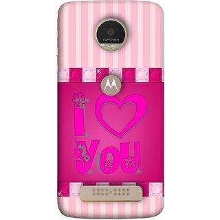 FUSON Designer Back Case Cover For Motorola Moto Z Play (Pink Red Wallpapers Flowers Lovers Boyfriends )