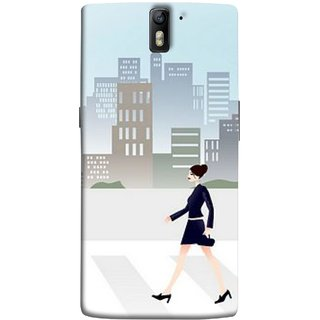 FUSON Designer Back Case Cover for OnePlus One :: OnePlus 1 :: One Plus One (Morden Girl Building Blue Outfit Purse Zebra Cross)