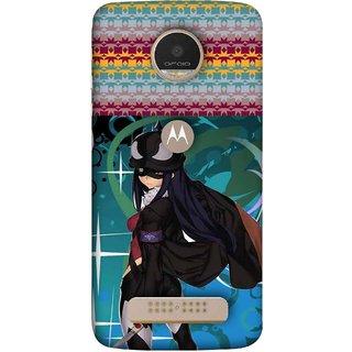 FUSON Designer Back Case Cover For Motorola Moto Z Play (Blue Background Woman Standing Holding Warrior Fantasy)
