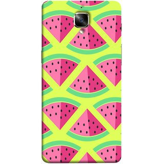 FUSON Designer Back Case Cover for OnePlus 3 :: OnePlus Three :: One Plus 3 (Watermelon Slice Pattern Of Ripe Handdrawing )