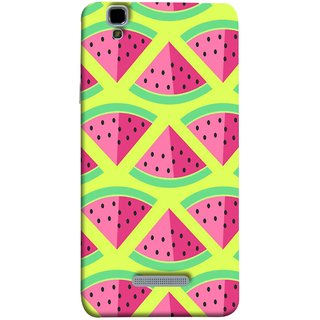 FUSON Designer Back Case Cover For YU Yureka Plus :: Yu Yureka Plus YU5510A (Watermelon Slice Pattern Of Ripe Handdrawing )