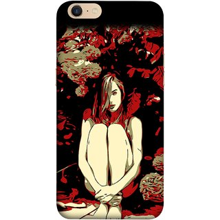 FUSON Designer Back Case Cover For Oppo A39 (Photo Upset Sitting In Garden Hands Together Pub Thinking)