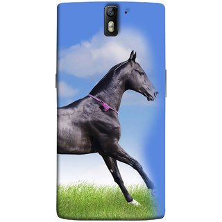 FUSON Designer Back Case Cover for OnePlus One :: OnePlus 1 :: One Plus One (Black Horse Blue Sky Clouds Look)