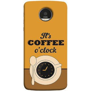 FUSON Designer Back Case Cover for Motorola Moto Z Force :: Motorola Moto Z Force Droid for USA (Yellow Good Morning Tea Coffee Full Cup Black)
