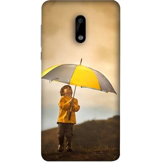 FUSON Designer Back Case Cover For Nokia 6 (Adorable Little Boy Holding Toy Friend And Umbrella)