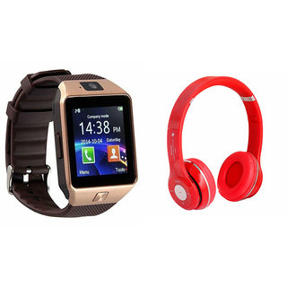 Clairbell DZ09 Smart Watch and S460 Bluetooth Headphone for PANASONIC P3 1(DZ09 Smart Watch With 4G Sim Card, Memory Card| S460 Bluetooth Headphone)