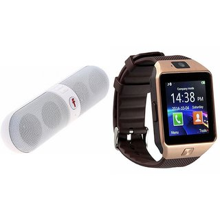 Mirza DZ09 Smartwatch and Facebook Pill Bluetooth Speaker  for SONY xperia c(DZ09 Smart Watch With 4G Sim Card, Memory Card| Facebook Pill Bluetooth Speaker)