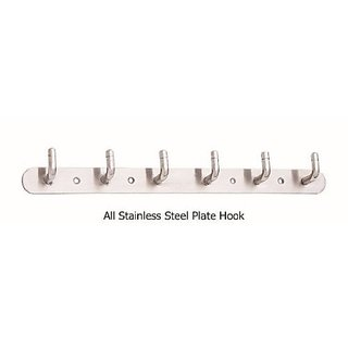 Shaks Pure Stainless Steel Plate Hook 6 Leg Cloth Hanger Wall Robe Hooks Rail For Hanging KeysClothesTowel ( Pack of 1 )