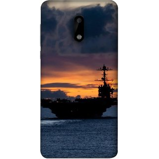 FUSON Designer Back Case Cover For Nokia 6 (Sunrise Sunset With Silhouette Of Navy Ship Sailing Away)