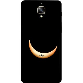 FUSON Designer Back Case Cover for OnePlus 3 :: OnePlus Three :: One Plus 3 (Black Background Yellow Moon Beam Lovely Picture)