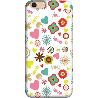 FUSON Designer Back Case Cover For Oppo A39 (Love You Pink Yellow Hearts Snow Red Flowers Garden )