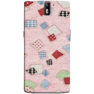 FUSON Designer Back Case Cover for OnePlus One :: OnePlus 1 :: One Plus One (Baby Pink Lot Colours Squares Patch Tiles )