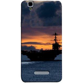 FUSON Designer Back Case Cover For YU Yureka Plus :: Yu Yureka Plus YU5510A (Sunrise Sunset With Silhouette Of Navy Ship Sailing Away)