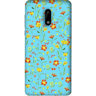 FUSON Designer Back Case Cover For Nokia 6 (Grey Yellow Red Small Checks Background Fresh Flowers)