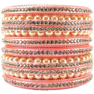 Sukriti Rajasthani Wedding BabyPink Lac Bangles for Women - Set of 6