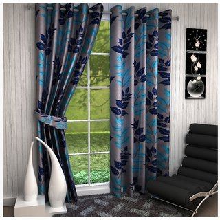 Attractivehomes Beautiful Blue Polyester Printed Door Curtains Set Of 2